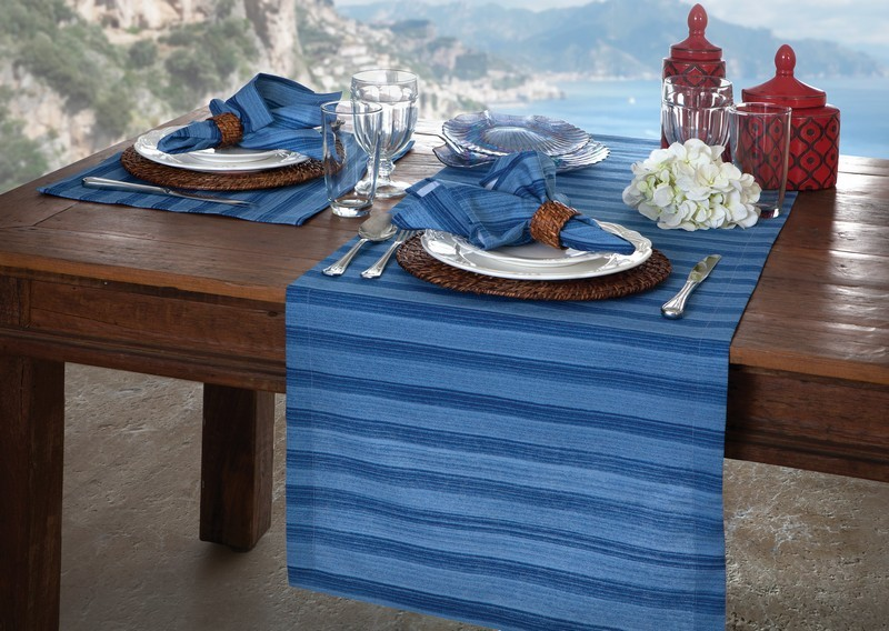 Kit 2 peças Jogo Americano Naturalle Amalfi Azul Limpeza Prática