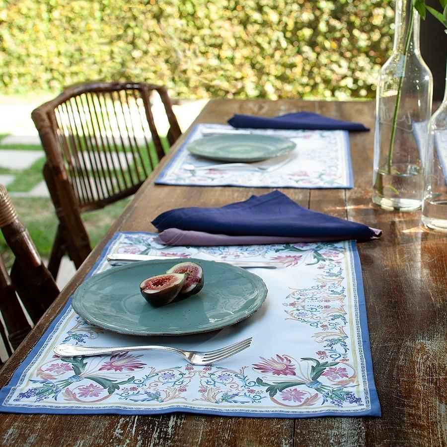 Kit 2 peças Jogo Americano Buddemeyer Sicily Azul