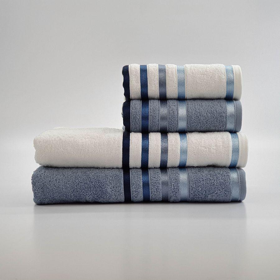Jogo de Toalhas de Banho + Rosto Lumina 4 peças Branco e Azul - Karsten