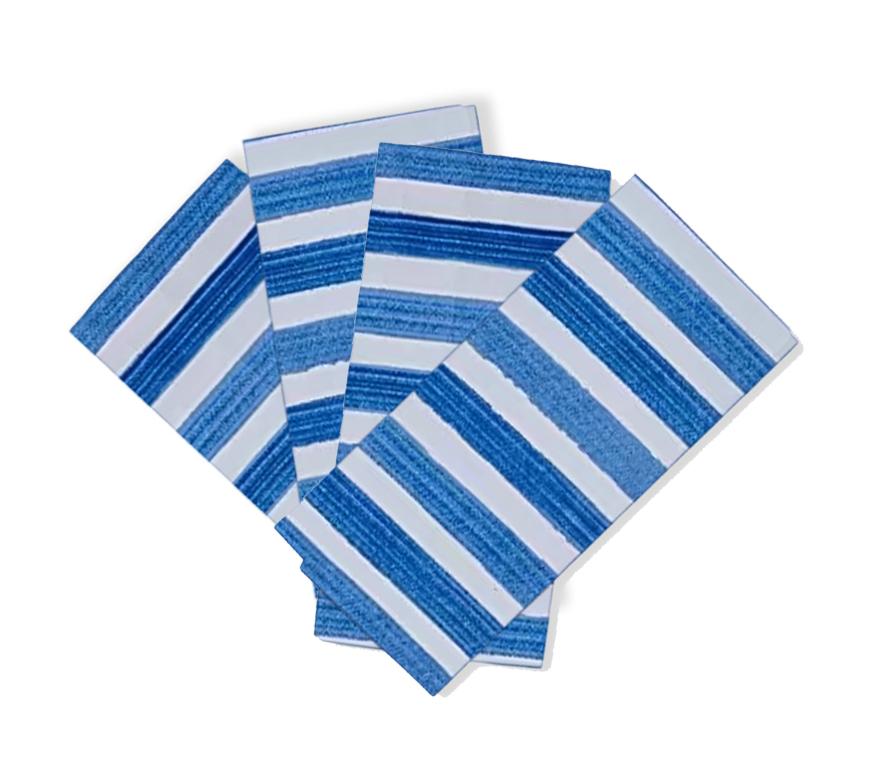 Kit 4 peças Guardanapo de Tecido Naturalle Amalfi Azul / Branco
