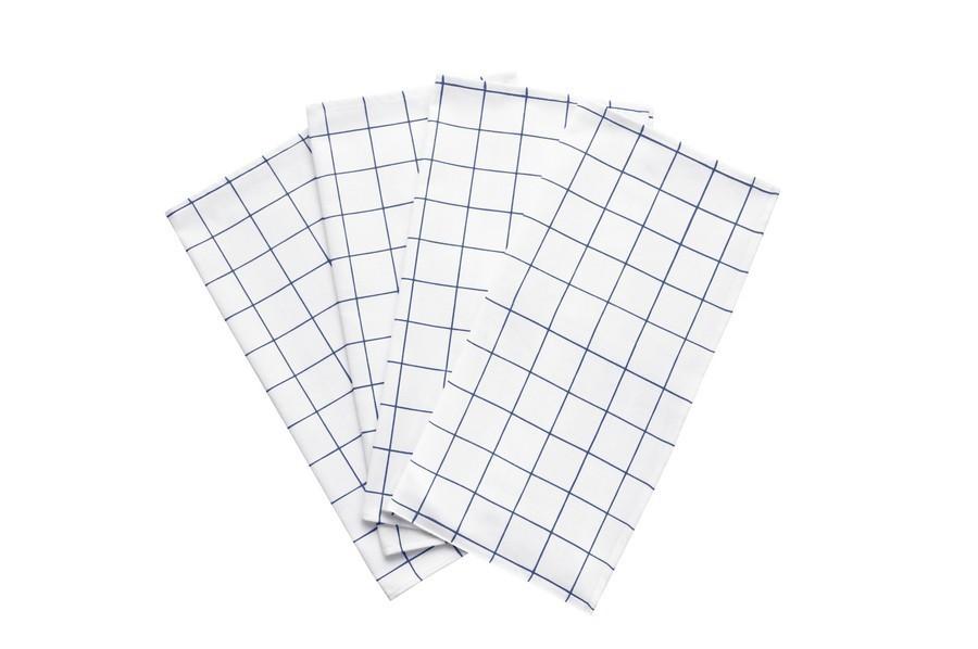 Kit 4 Peças Guardanapo de Tecido Naturalle Limpeza Prática Grid Marinho