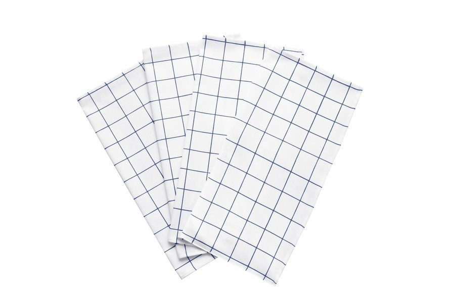 Kit 4 Peças Guardanapo de Tecido Naturalle Grid Marinho