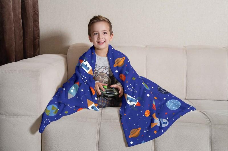 Manta Infantil de Sofá Fleece Lepper Espaço Divertido Foguete