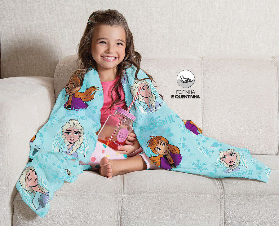 Manta Infantil de Sofá Fleece Estampada Frozen - Lepper
