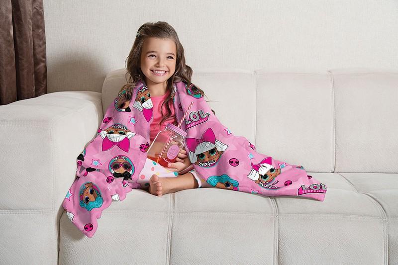 Manta Infantil de Sofá Fleece Lepper LOL Rosa