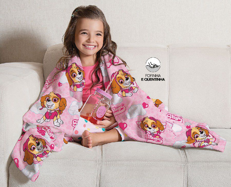 Manta Infantil de Sofá Fleece Estampada Patrulha Canina Skye - Lepper