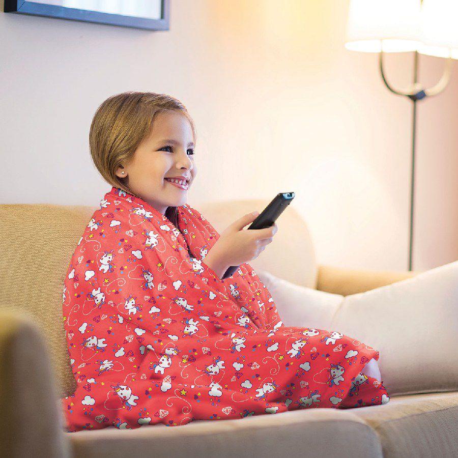 Manta Infantil de Sofá Fleece Estampada Unicórnio - Lepper