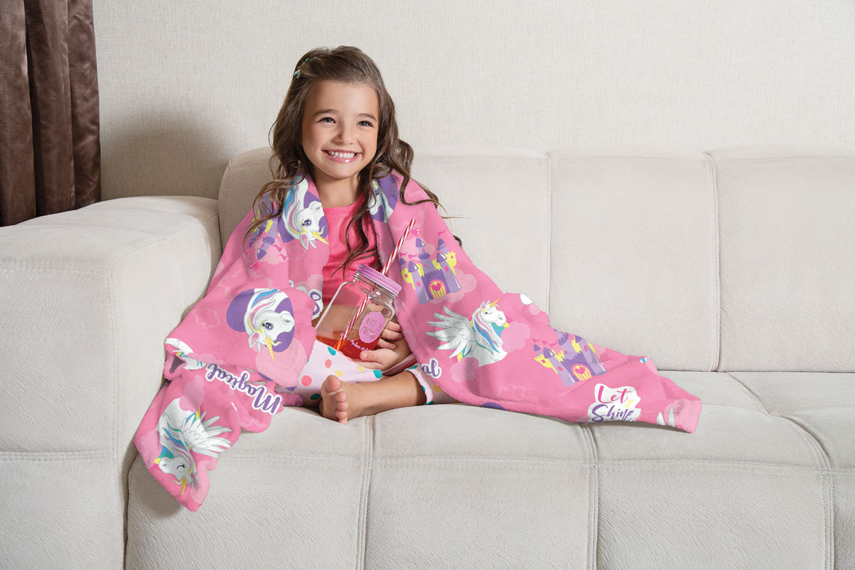 Manta Infantil de Sofá Fleece Lepper Doce Fantasia Unicórnio