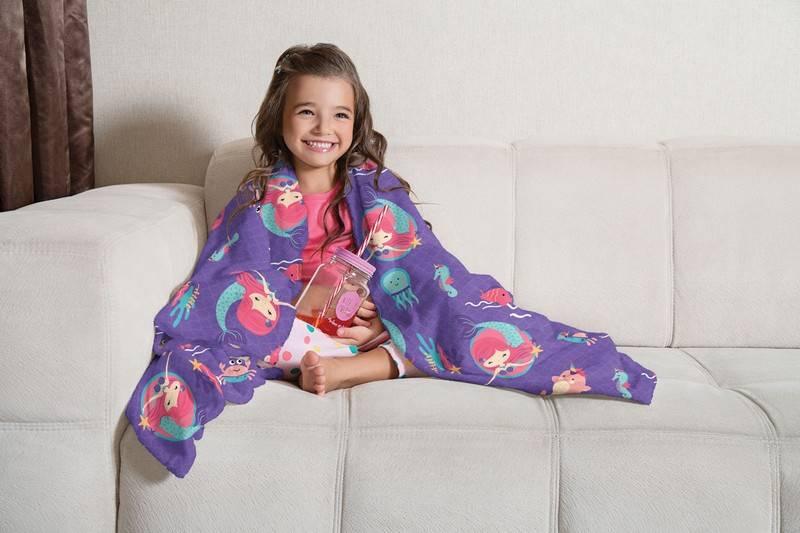 Manta Infantil de Sofá Fleece Lepper Oceano Colorido Sereia