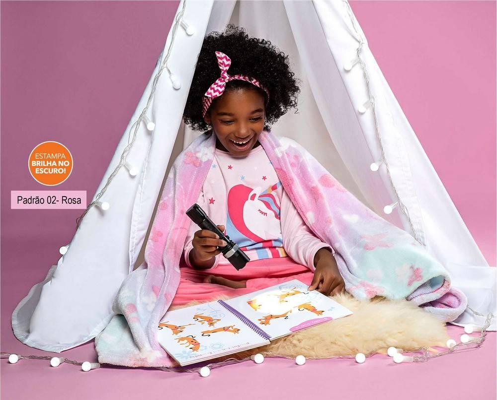 Manta Infantil Lepper Kids Glow Rosa, Dupla Face, Brilha no Escuro - 1.25m x 1,50m