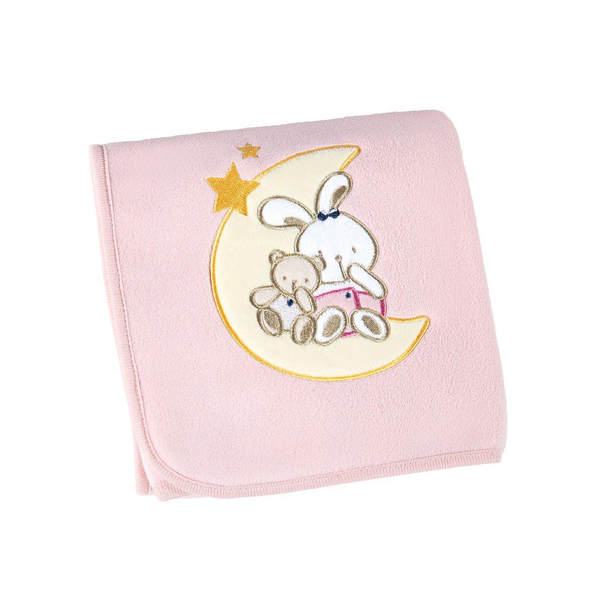 Manta para Bebê Fleece Bordada Coelhinha - Lepper
