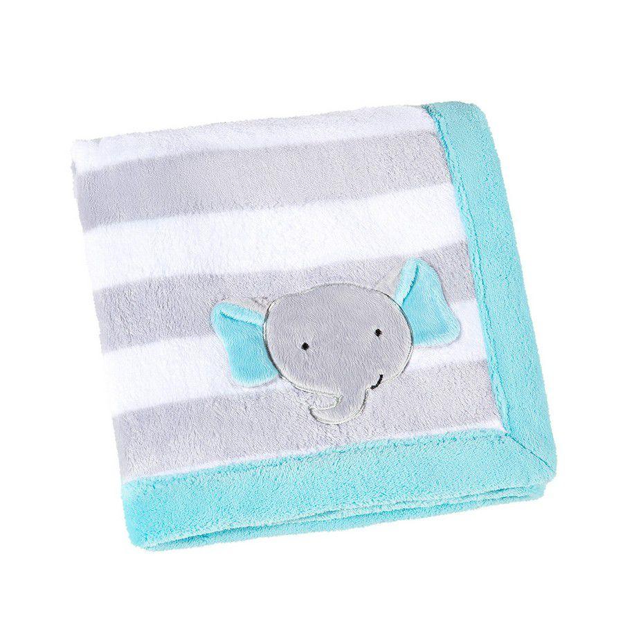 Manta para Bebê Fleece Elefantinho Azul e Cinza - Lepper