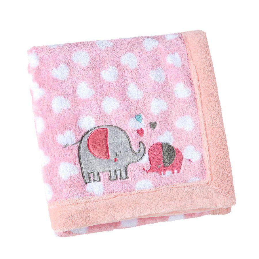 Manta para Bebê Fleece Elefantinho Rosa e Branco - Lepper