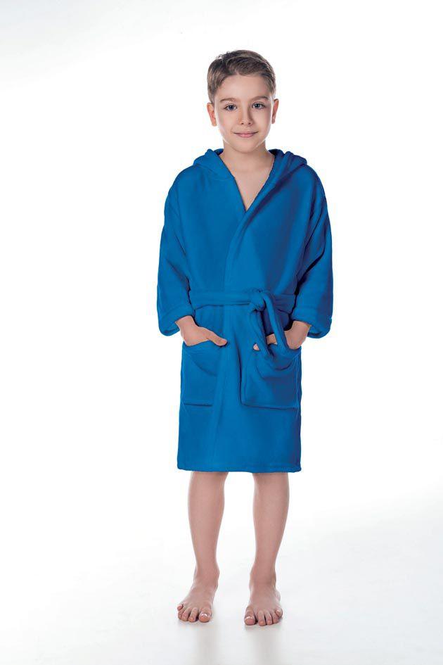 Roupão Infantil com Capuz Flannel Fleece Azul - Lepper