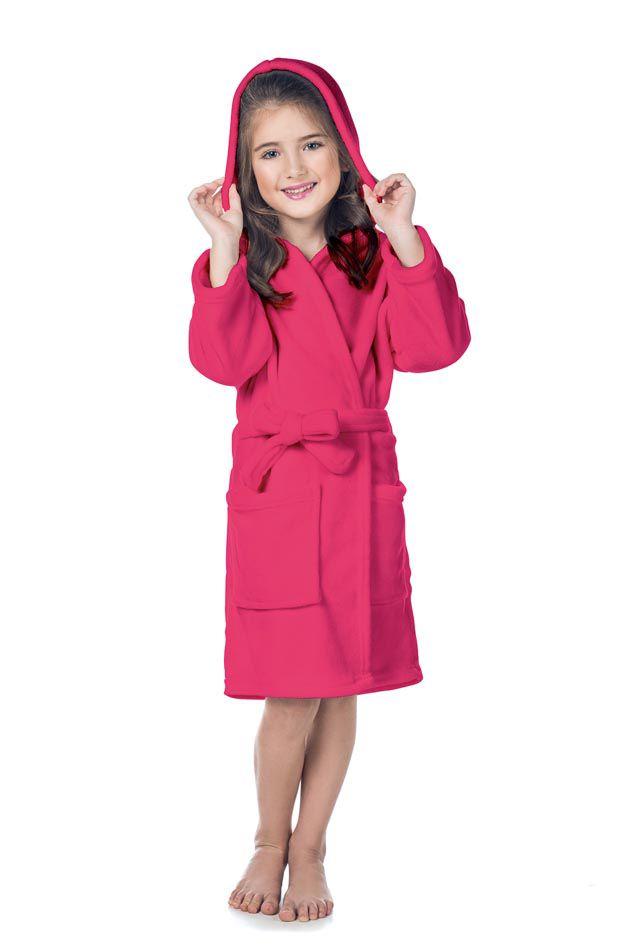 Roupão Infantil com Capuz Quimono Flannel Fleece Rosa - Lepper