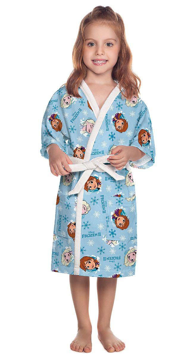 Roupão Infantil Quimono Aveludado Estampado Frozen - Lepper