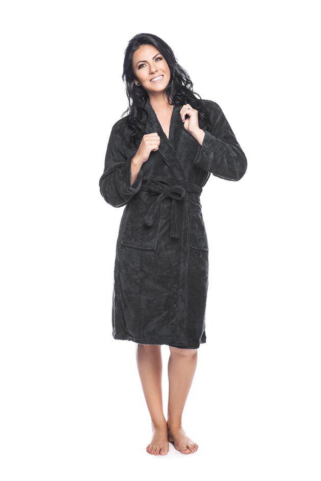 Roupão Quimono Adulto Unissex Flannel Fleece com Gola Sublime Preto - Lepper