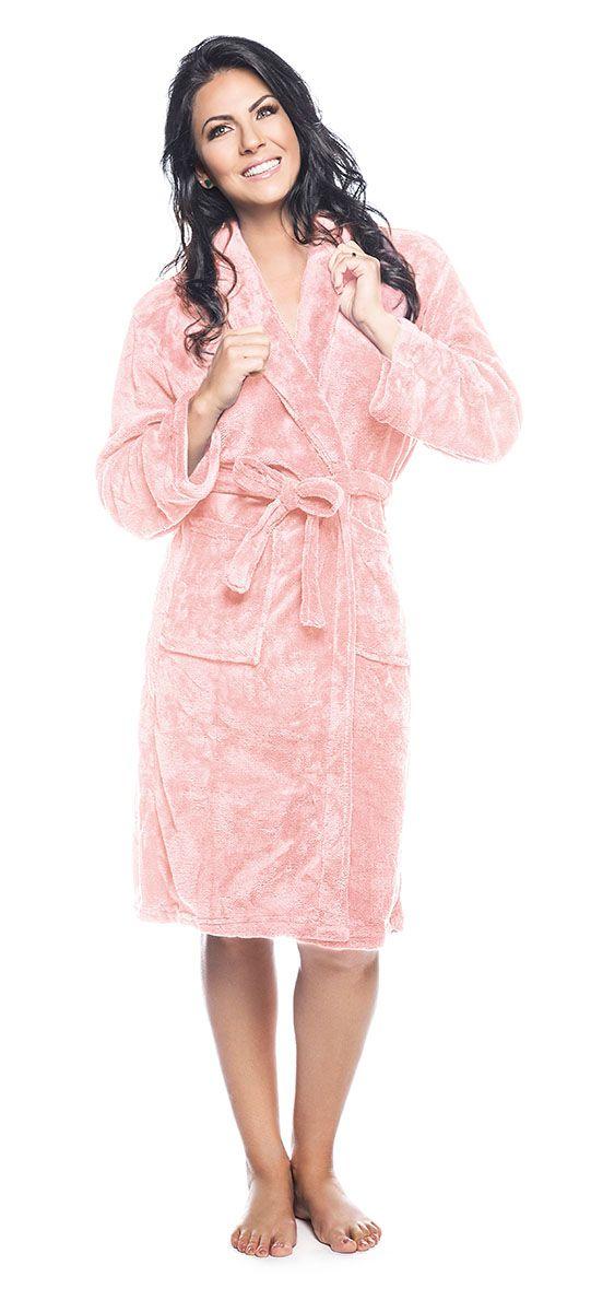 Roupão Quimono Adulto Unissex Flannel Fleece com Gola Sublime Rosa Claro - Lepper