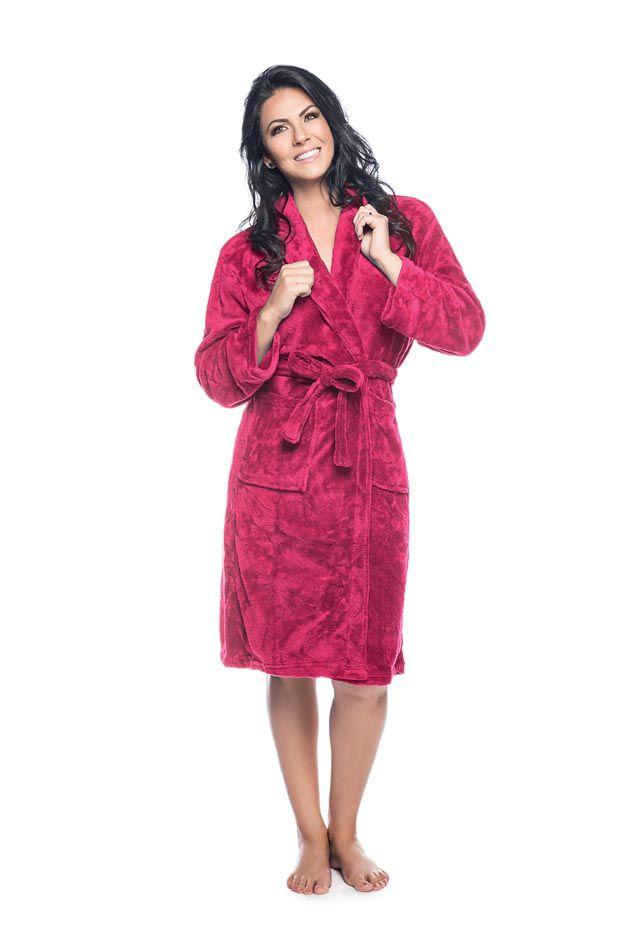 Roupão Quimono Adulto Unissex Flannel Fleece com Gola Sublime Pink (Rosa Escuro) - Lepper