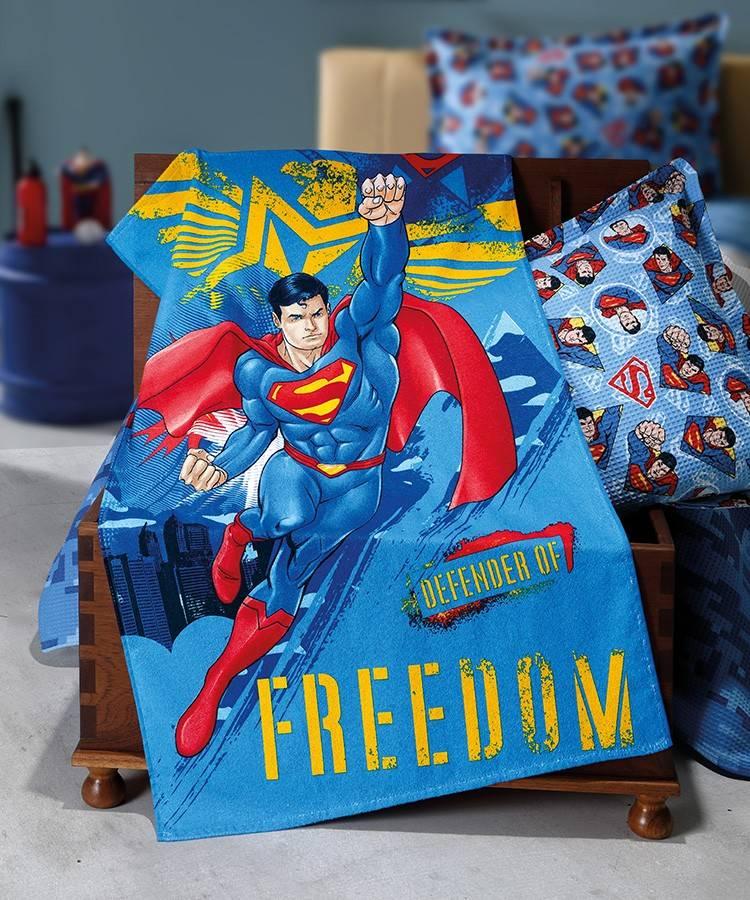 Toalha de Banho Infantil Dohler Superman 100% Algodão - Gramatura: 330g/m²