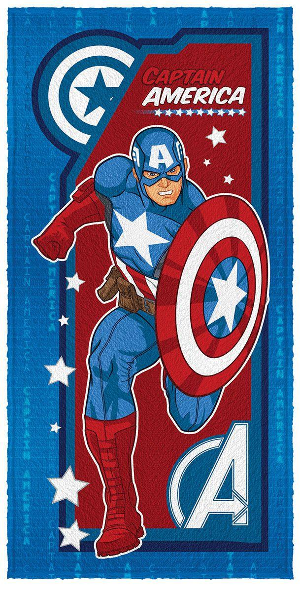 Toalha de Banho Infantil Felpuda Estampada Avengers Capitão América - Lepper