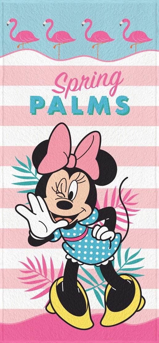 Toalha de Banho Infantil Lepper Felpuda Minnie Spring Palms Rosa Claro