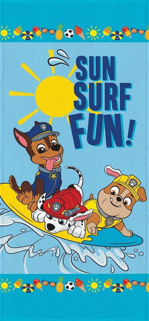Toalha de Banho Infantil Lepper Felpuda Patrulha Canina Sun Surf Fun