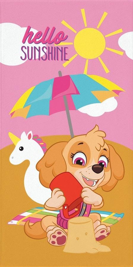 Toalha de Banho / Praia Infantil Lepper Aveludada Estampada Patrulha Canina Skye Hello