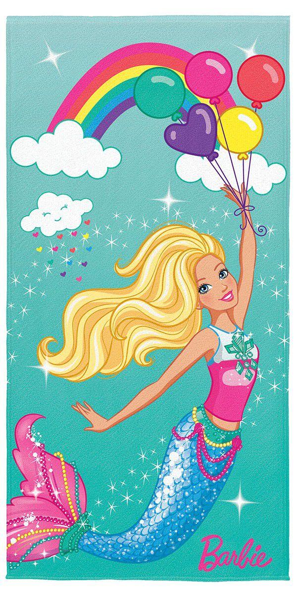Toalha de Banho / Praia Infantil Lepper Aveludada Transfer Barbie Reinos Mágicos