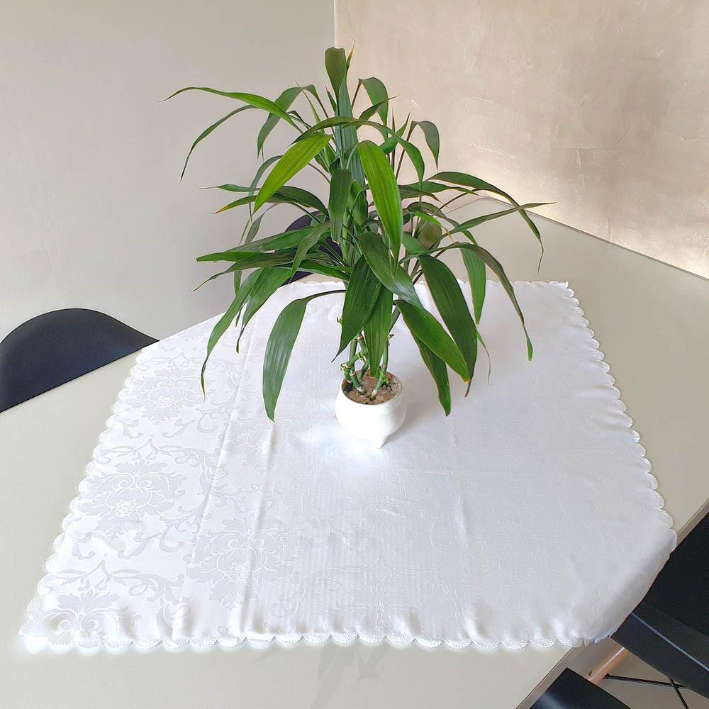 Toalha de Chá / Centro de Mesa Casa Argivai Jacquard Jade Branco Quadrado 85cm x 85cm