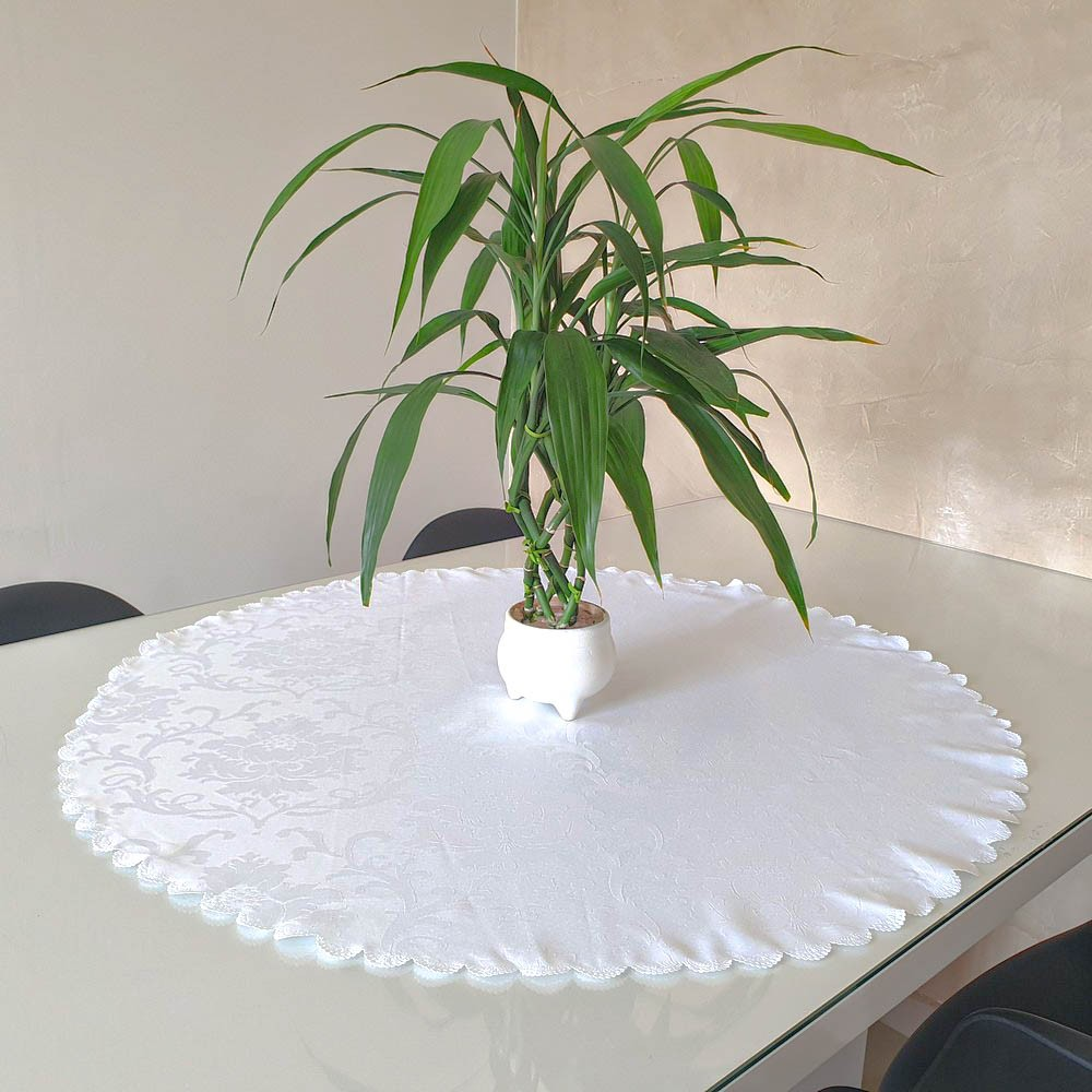 Toalha de Chá / Centro de Mesa Casa Argivai Jacquard Jade Branco Redondo 85cm