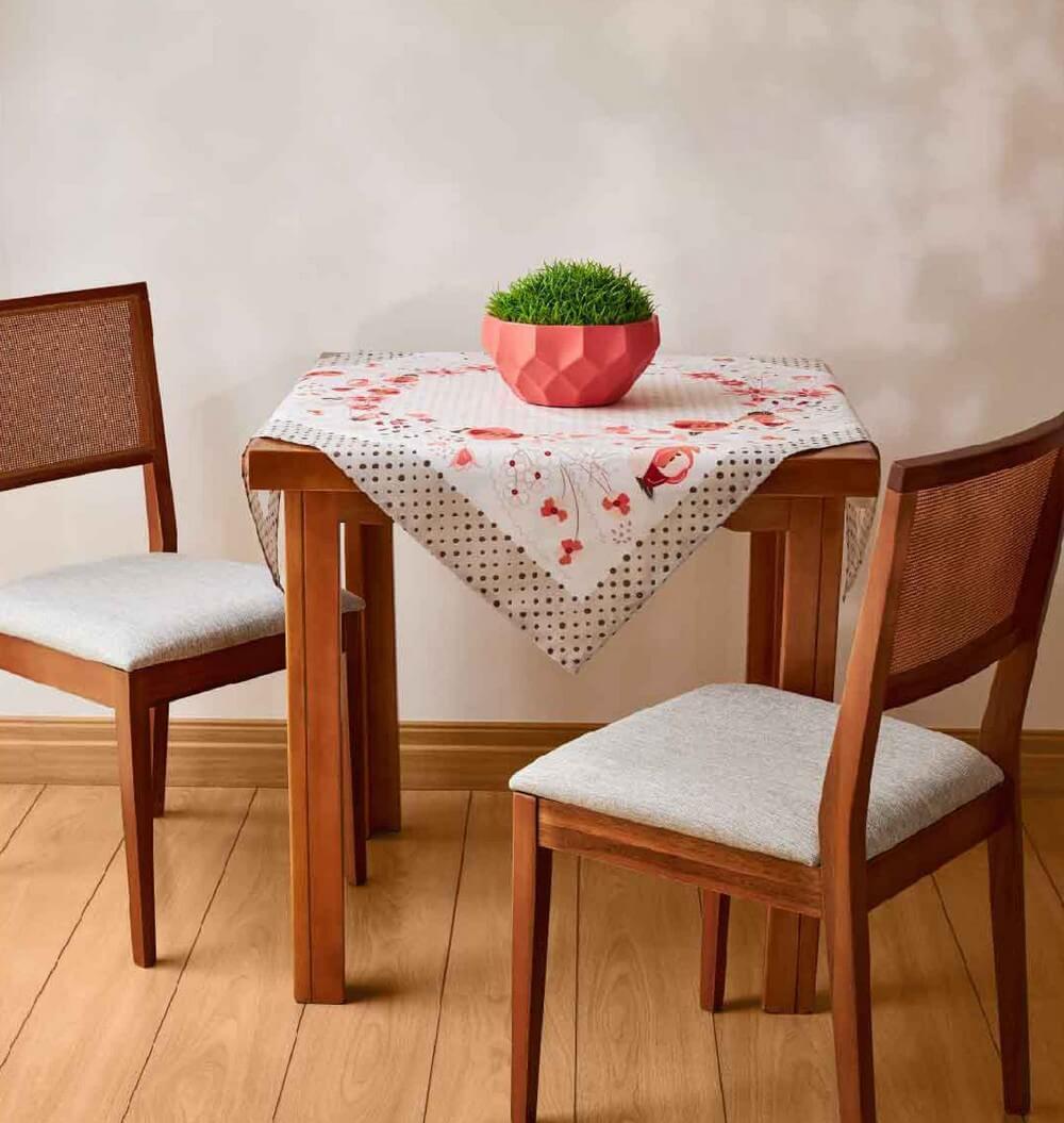 Toalha de Chá / Centro de Mesa Lepper Florença Flores Poá 1,00m x 1,00m
