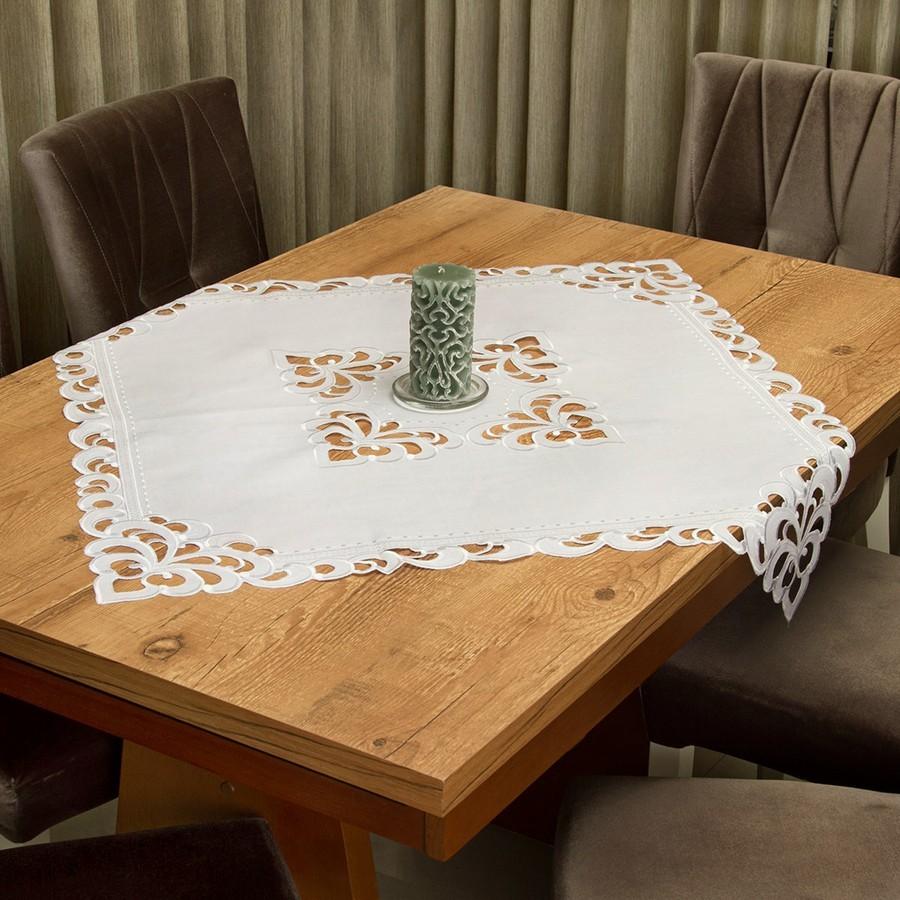 Toalha de Chá / Centro Mesa Casa Argivai Rechilie Branca Quadrada 85cm x 85cm