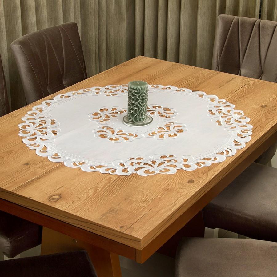 Toalha de Chá / Centro Mesa Casa Argivai Rechilie Branca Redonda 85cm