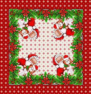 Toalha de Chá / Centro de Mesa Quadrado Lepper Magia do Natal Ursinhos Natalinos 75cm x 75cm