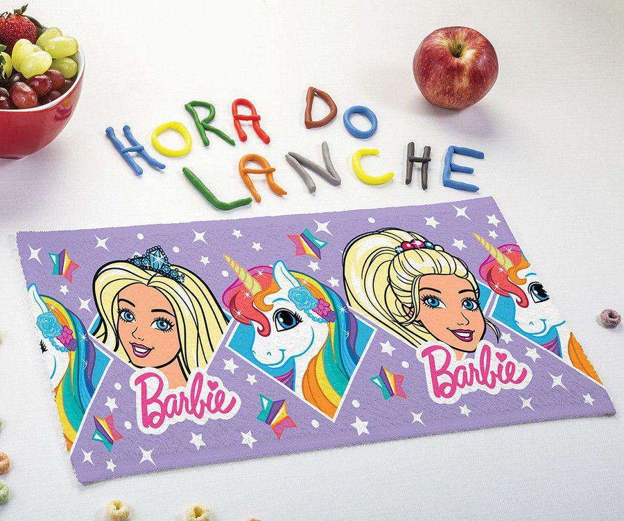 Toalha de Lancheira Infantil Estampada Barbie Reinos Mágicos Roxa - Lepper
