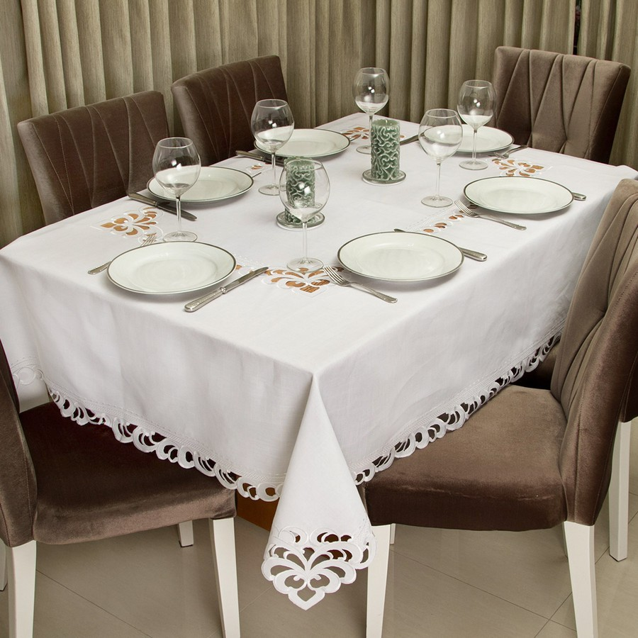 Toalha de Mesa Quadrada Casa Argivai Rechilie Branca 8 Lugares 2,20m x 2,20m