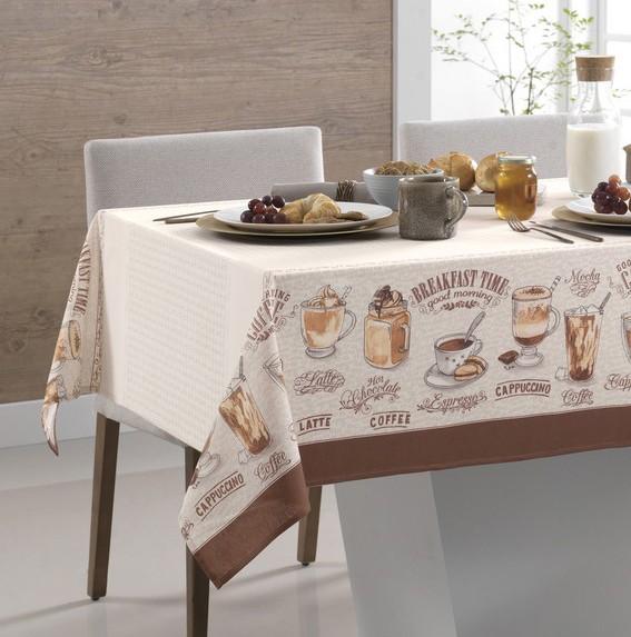 Toalha de Mesa Quadrada Karsten Dia a Dia Café Gourmet 4 Lugares 1,40m x 1,40m