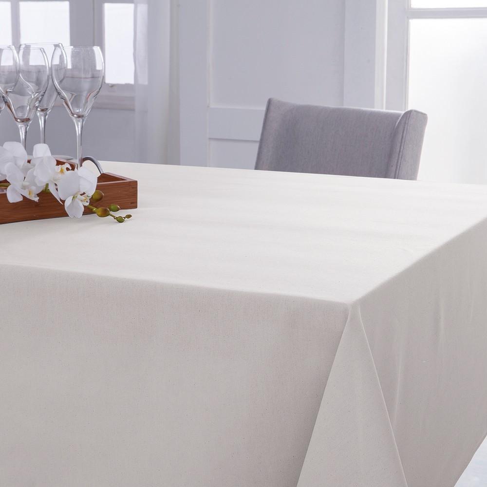 Toalha de Mesa Quadrada Naturalle Lisa Off-White 8 lugares 2,20m x 2,20m
