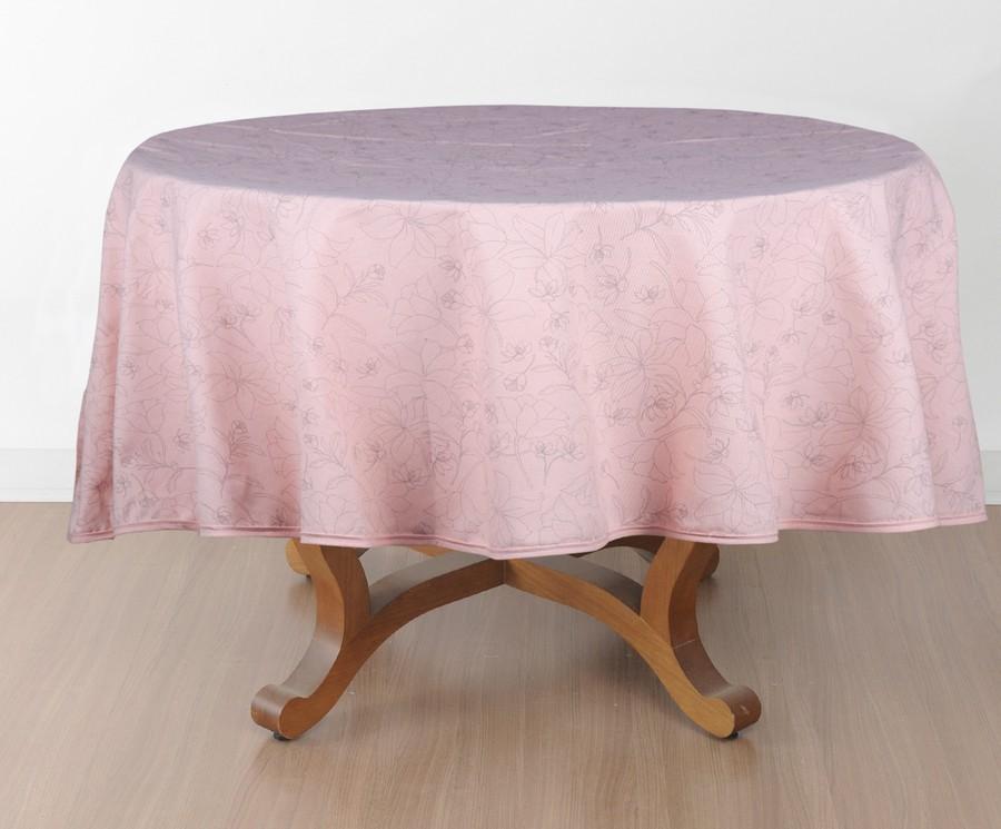 Toalha de Mesa Redonda Naturalle Passione Rosa Limpeza Prática  6 a 8 Lugares 1,80m