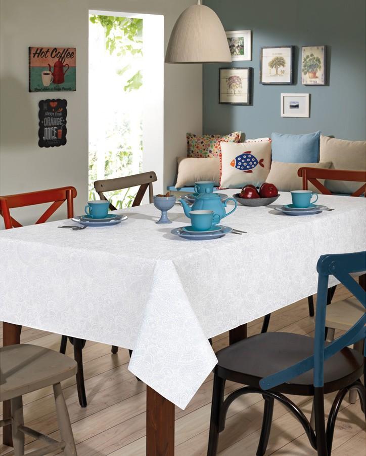 Toalha de Mesa Retangular Dohler Clean Athenas Edite 6 Lugares 1,40 x 2,10m