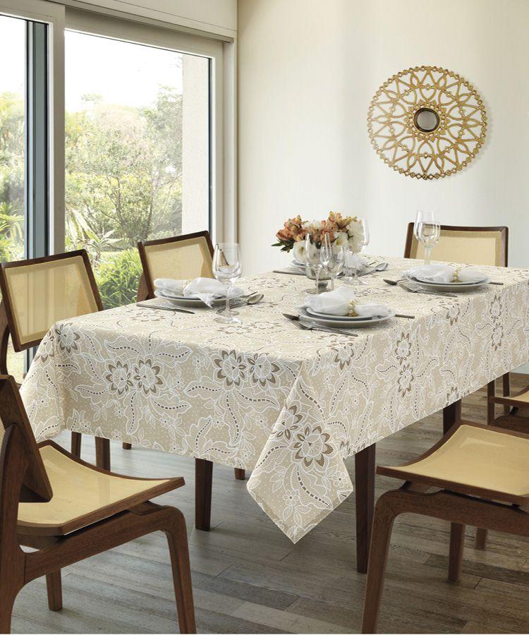 Toalha de Mesa Retangular Dohler Clean Athenas Eloah 6 Lugares 1,40m x 2,10m