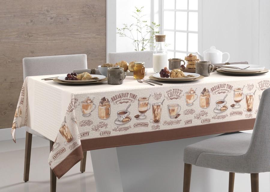 Toalha de Mesa Retangular Karsten Café Gourmet Dia a Dia 6 Lugares 1,40m x 2,10m