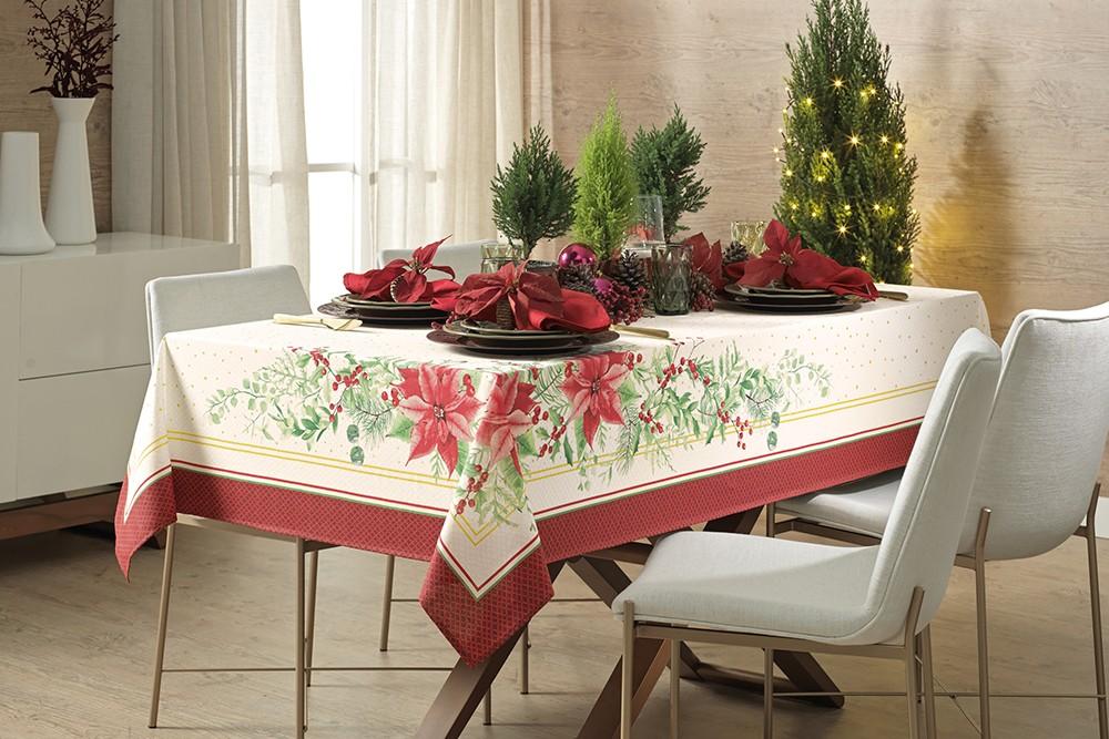 Toalha de Mesa Retangular Karsten Flores de Natal com Efeito Ouro 6 Lugares 1,40m x 2,10m
