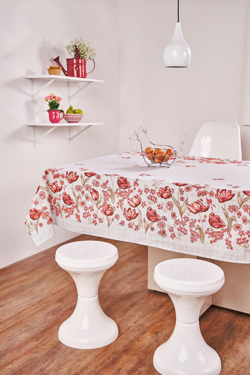 Toalha de Mesa Retangular Lepper Aline Flores Vermelhas 6 Lugares 1,40m x 2,10m