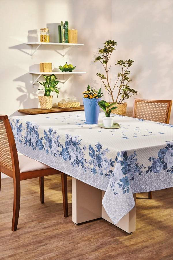 Toalha de Mesa Retangular Lepper Super Prática 6 Lugares Carol Flores Azul 1,40m x 2,20m