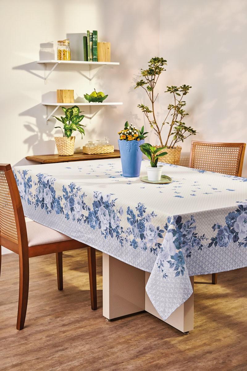 Toalha de Mesa Retangular Lepper Super Prática Carol Flores Azul 8 Lugares 1,55m x 2,50m