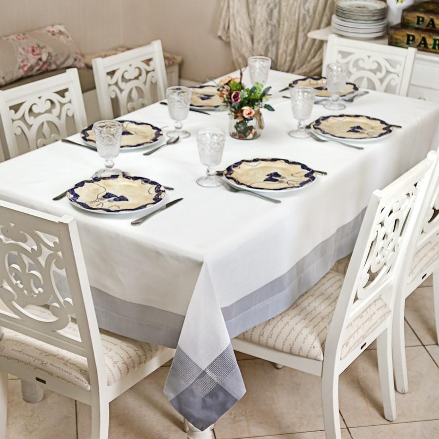 Toalha de Mesa Retangular Maison Charmy Nanquim 8 Lugares 1,60m x 2,60m - Casa Argivai
