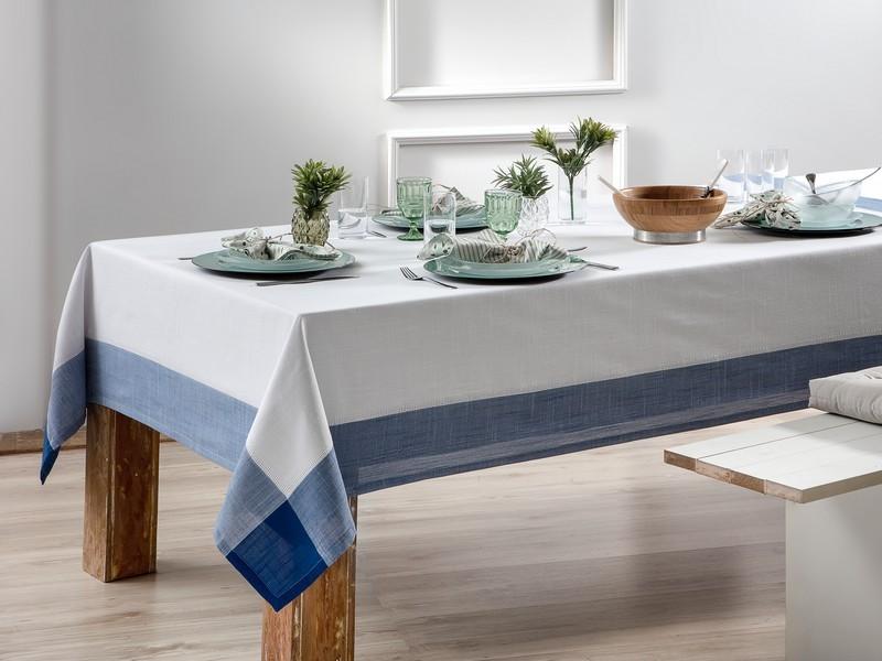 Toalha de Mesa Retangular Naturalle Chamonix Branco / Azul 12 lugares 1,80m x 3,50m