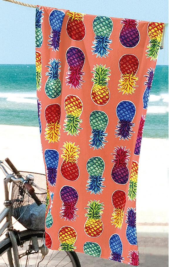 Toalha de Praia Dohler Colorful Pineapples Aveludada 100% Algodão